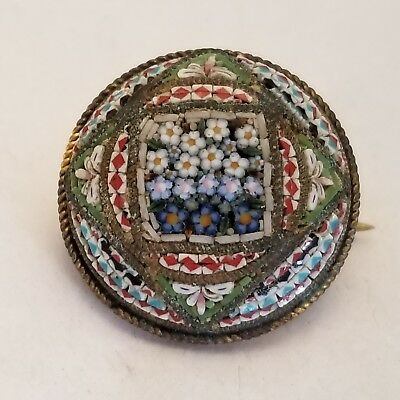 Old Vintage Italy Micro Mosaic Tesserae Brooch Forget Me Not Flowers Marked Fap
