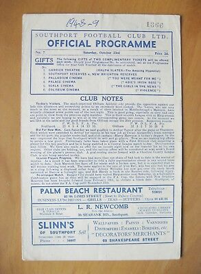 SOUTHPORT v OLDHAM ATHLETIC 1948/1949 *Good Condition Football Programme*