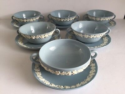 Six Wedgwood Queensware Cream Soup Bowls with Under Plates Cream on Blue (12pcs)