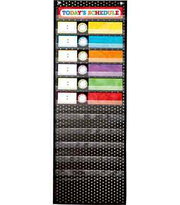 CD 158041 Black & Gold Deluxe Scheduling Pocket Chart Classroom Organization
