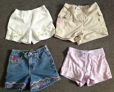 4 pairs of girls shorts age 4,5,6 gap, next white jeans embroidered bundle