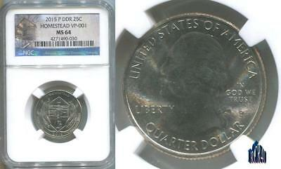 DOUBLED DIE REVERSE VP-001 NGC MS-64 2015-P HOMESTEAD QUARTER (DDR)! No ReSeRvE