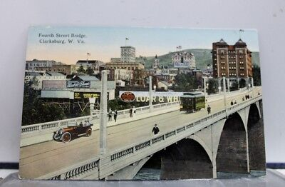 West Virginia WV Clarksburg Fourth Street Bridge Postcard Old Vintage Card View