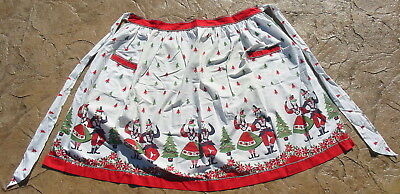 Vtg Christmas Apron Handmade Cotton Rick Rack Dutch Dancers Tree Ornaments Old