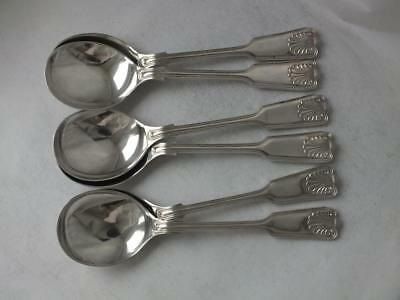 Heavy Set of 6 Solid Sterling Silver Soup Spoons 1967/ L 17.2 cm/ 404 g