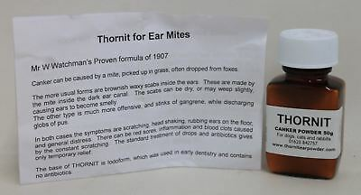 NEW THORNIT EAR Mite Canker Treatment Powder For Dogs Cats & Rabbits 50g