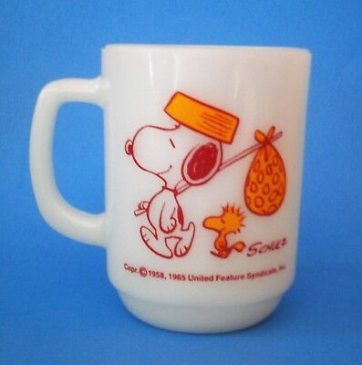 Vintage Anchor Hocking Snoopy W/Hobo Bag & Woodstock Come Home Mug