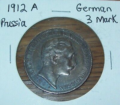 1912 A German States PRUSSIA 3 Mark KM 527 Silver Germany XF World Coin