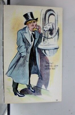 Comic Cartoon Drunk Hello Central Give Me the Bar Postcard Old Vintage Card View