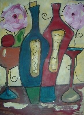 wine painting art By Artist PB impressionist abstract food original floral