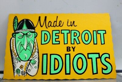 Comic Cartoon Made in Detroit By Idiots Postcard Old Vintage Card View Standard