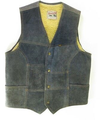 Vintage 80s Lee Storm Rider Trucker Suede Vest Mens Medium Blue Leather Sherpa