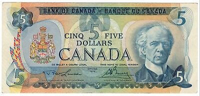 1979 Bank Of Canada Five 5 Dollar Bank Note Nice Bill