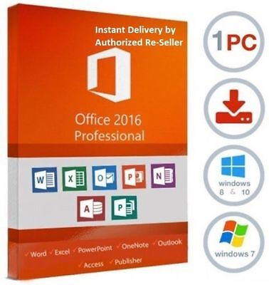 Office 2016 Pro Professional Plus 32/64 Bit License Key Genuine Product Code