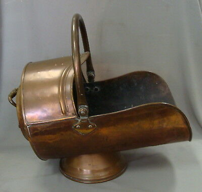 Large Antique English Copper Coal Scuttle Fireplace Wood Bin