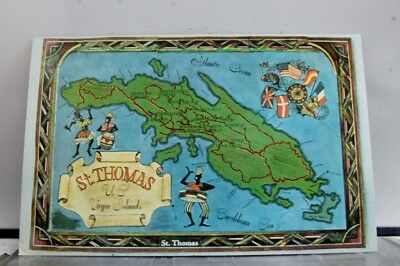 Virgin Islands St Thomas Map Postcard Old Vintage Card View Standard Souvenir PC