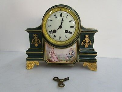 Vintage French Cast Iron Mantle Clock Gold Floral Hand Painted w/ Key