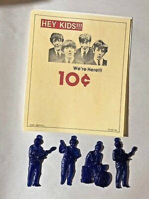 Impossible Find! Beatles Vintage Full Set Rubber Charms 1965  Original Card Rare