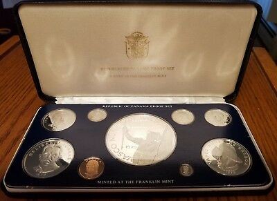 1979 Panama 9-Coin Proof Set, Franklin Mint, Certificates of Authenticity