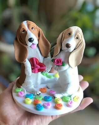 Handsculpted Clay Basset Hound Dog Dogs Sculpture Valentine's Day Love