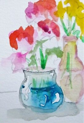 Aceo vase flowers still life miniature collectible art Delilah