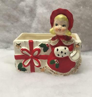 Vintage Christmas Girl Planter Spaghetti Trim And Hand Muff Holly & Red Bow