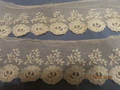 Antique Heavy Embroidered  Net Lace Flounce  Antique Doll Dress Lace 1 Yd