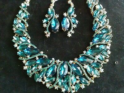 Elegant TEAL Crystals Necklace Earrings Set Formal Bridal Pageant Wedding Prom