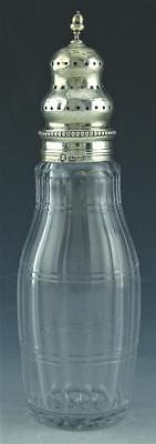 """Antique English Sterling Silver & Cut Glass 7"""" Muffineer Shaker ~ Full Hallmarks"""