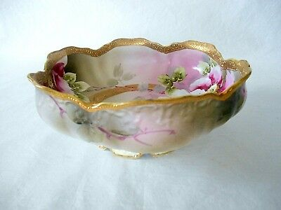 "Beautiful Old NIPPON PAINTED FLOWERS RED & WHITE FLORAL & GOLD 8.5"" FOOTED BOWL"