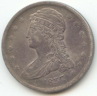 1837 Reeded Edge Capped Bust Half Dollar, XF