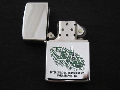 Vintage 1965 Unfired Zippo Lighter Interstate Oil Transport Engraved Graphics