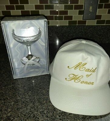 Maid of Honor Bridal White & Gold Cap Hat & Toasting Champagne Glass NEW
