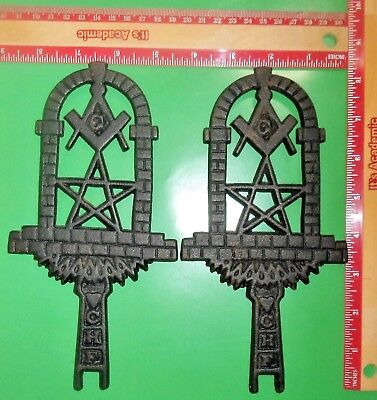 Two Vintage 1961 JZH Cast Iron Trivets with Masonic Symbols