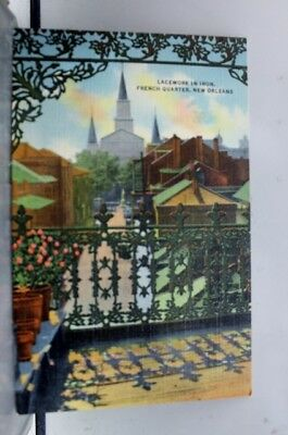 Louisiana LA Lace Balconies French Quarter New Orleans Postcard Old Vintage Card