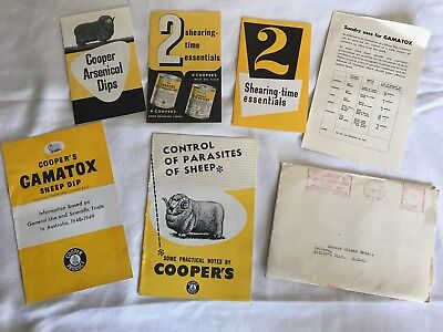 COOPER SHEEP DIPS - ADVERTISING BROCHURES  x 5 - LIKE NEW - 1940's with envelope