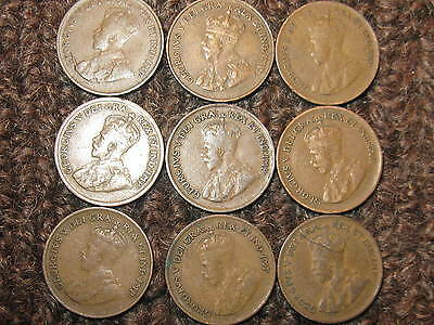 Set Of 9 Rare King George V Era Pennies All Different Years.