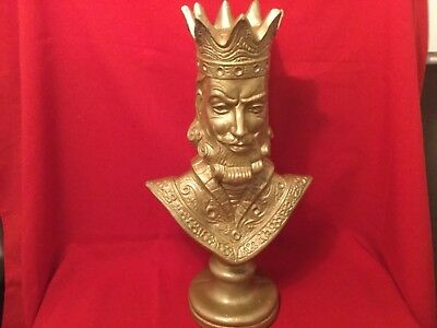 Vintage Gold Finish King Ferdinand Of Spain Bust Statue Chalkware NICE
