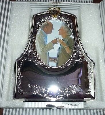 50th Silver Wedding Anniversary Golden Plated Double Picture Photo