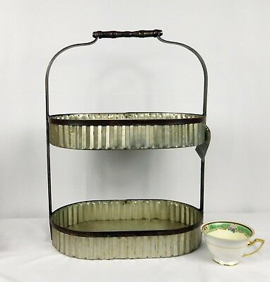 2 Tier Galvanized Metal Tray~Rustic Fruit Basket~Farmhouse Kitchen Table Decor