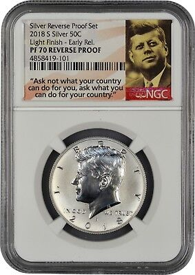 2018 S Silver Kennedy 50C REVERSE PROOF LIGHT FINISH NGC PF70 EARLY RELEASES.