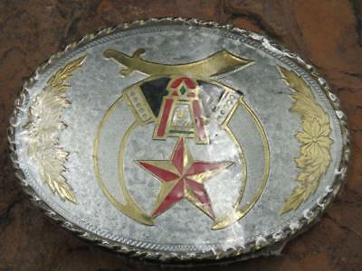Silver Gold Tone Shriner's Masonic Belt Buckle Made In USA