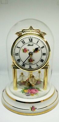 Hermle Quartz Rose Anniversary Clock with Glass Dome