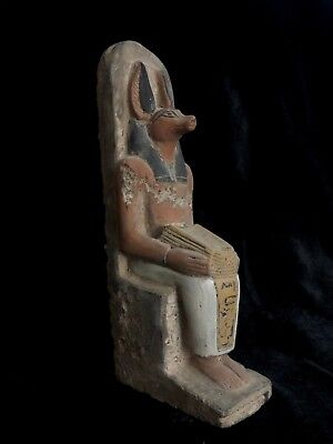 EGYPTIAN ANTIQUES EGYPT God ANUBIS Jackal Head Dog CARVED STONE STATUE 2685 BC