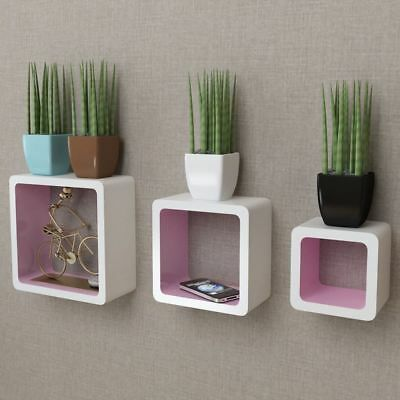 3x Floating Wall Display Shelf Cubes Book / DVD Storage Hanging Unit Home Decor
