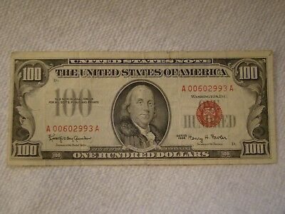 1966 $100.00 One Hundred Dollar Red Seal Currency Note Bill