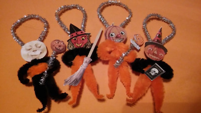 4 Vintage Style Halloween  Chenille Ornaments JOL MOON WITCH