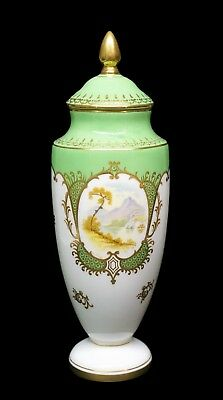 Sweet Coalport Hand Painted Green & Gold Porcelain Scenic Urn - A