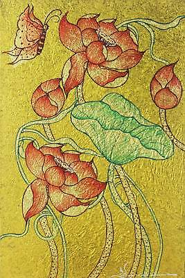 Lotus Flower Painting Gold Foil Fine Art 'Nature of Life IV' NOVICA Thailand