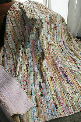"""NEW - Hand Made Quilt """"SHABBY CHIC STRIPPY"""" Design by Quilt-Addicts 79"""" x 78"""""""